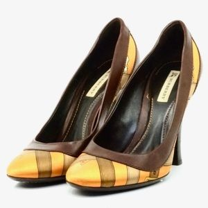 Auth Burberry Silk Leather Shoes #787B10